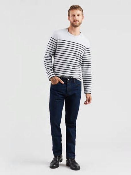 Men's Levi's 501 Original Fit Button Fly Straight Leg Denim Jeans in AUTHENTIC BLUE RINSEWASH