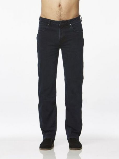 Men's Wrangler Straight Stretch Denim Jeans BLUE/BLACK