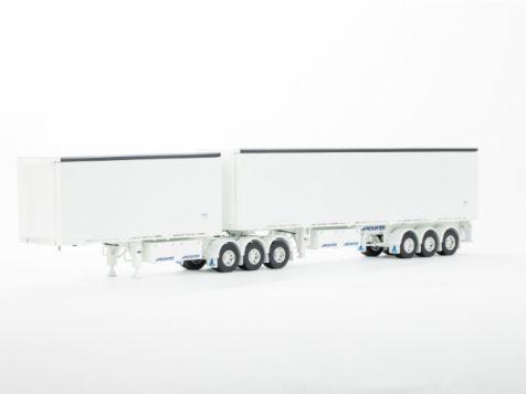 1:50 Drake Freighter Ezi-Liner B-Double in White/White