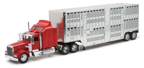 1:32 NewRay Kenworth W900 w/Pot Belly Livestock Trailer