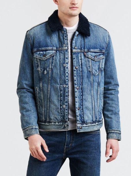 Men's Levi's Trucker Sherpa Denim Jacket INDIGO LAMB