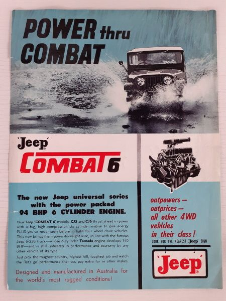 """Power thru Combat: Jeep Combat 6"" Original Sales Brochure"