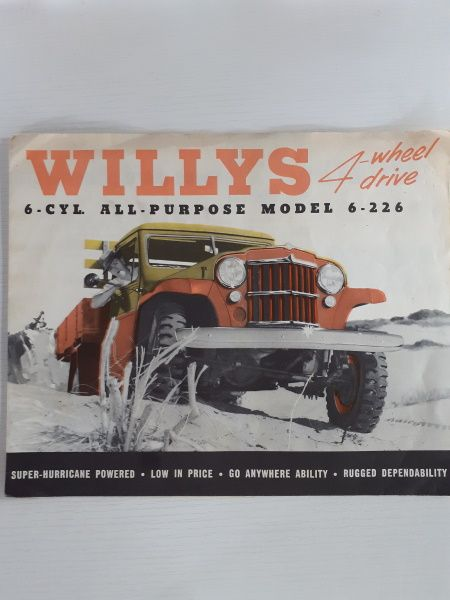 """4-wheel drive Willys Jeep 1 Ton Truck Model 6-226"" Original Sales Brochure"