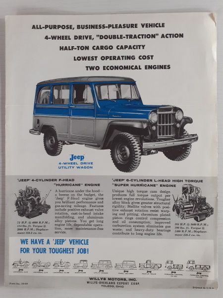 """Willys 4-Wheel Drive Audio-Visual Unit"" Jeep Original Sales Brochure"