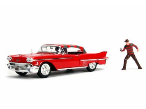 1:24 Jada Nightmare on Elm Street 1958 Cadillac Series 62 w/Freddy Figurine 31102