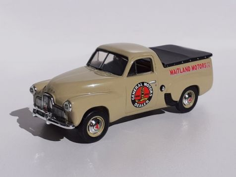 1-43-classic-carlectables-1951-holden-fx-utility-general-motors-dealers-livery-in-nankeen-cream