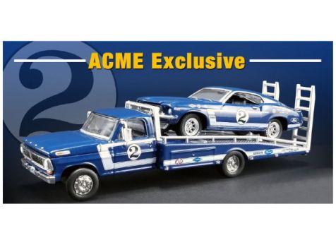 1:64 ACME 1969 Trans Am Mustang #2 Dan Gurney w/ Ford F-350 Ramp Truck