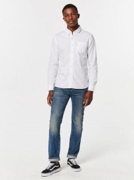 Levi's Men's Sunset 1 Pocket Button Up Shirt WHITE