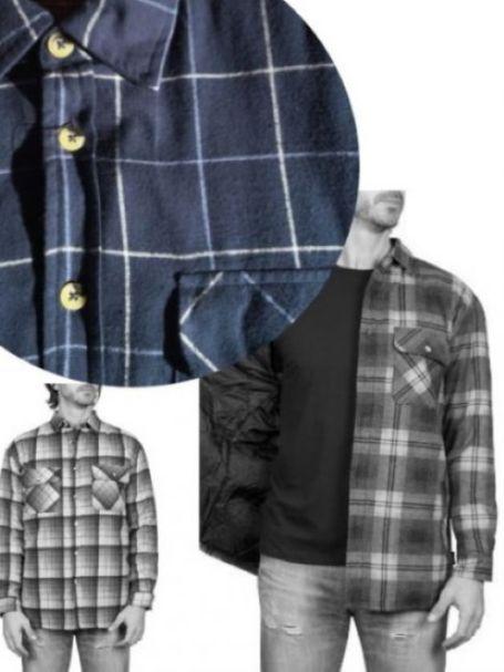 Adventureline Men's Quilted Flannelette Shirt - Navy/White Stripe