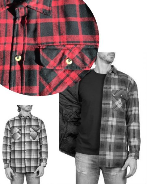 Adventureline Men's Quilted Flannelette Shirt - Red/Black Check