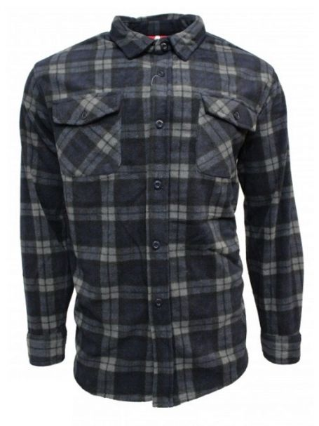 Adventureline Men's Shearers Sherpa Lined Jacket in Navy Check