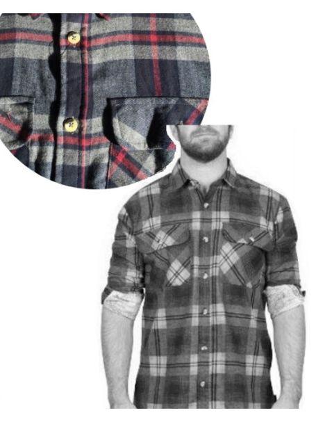 Adventureline Men's Flannelette Shirt - Navy/Grey/Red Check
