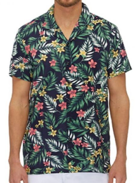 City Club Men's Short Sleeve Button-Up Collar Shirt ALOHA Black