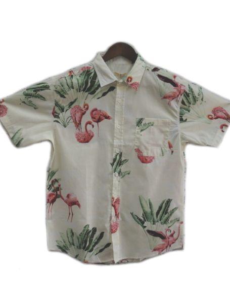 Men's Coast Highway Short Sleeve Shirt Flamingos/Cream Background