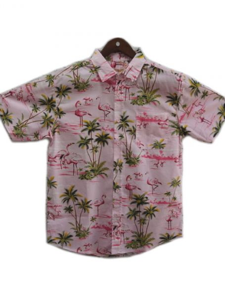 Men's Coast Highway Short Sleeve Shirt Flamingos/Pink Background