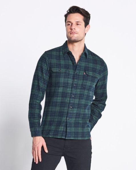 Men's Levi's Classic Worker Long Sleeve Shirt LORISES PYTHON GREEN PLAID