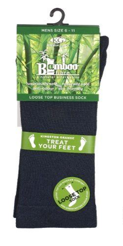 Bamboo Loose Top Business Socks - Navy