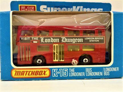 Matchbox Super Kings - Londoner Bus - London Dungeon/Bridge Station - K-15