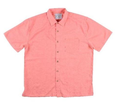 Mens Bamboo Fibre Short Sleeve Shirt in Salmon