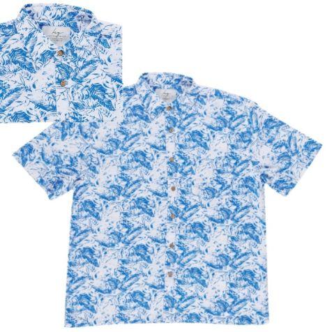 Men's Bamboo Fibre Short Sleeve Shirt: Blue Fern