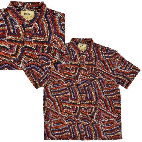 "Men's Bamboo Short Sleeve Shirt ""Dreaming Range"" JUKURRPA DREAMING"