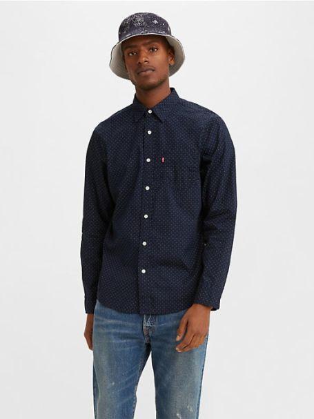 Men's Levi's Long Sleeve Classic One-Pocket Button-up Collar Shirt DIZYDOT NIGHTWATCH
