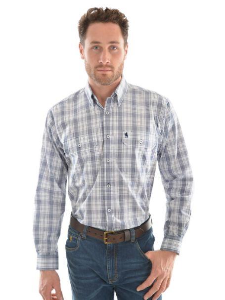 Men's Thomas Cook 'Andrew Check' 2 Pocket Long Sleeve Shirt 100% Cotton