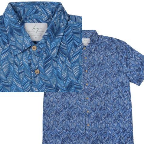 Men's Bamboo Fibre Short Sleeve Shirts NAVY LEAF
