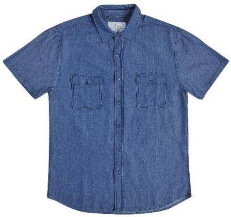 Mens Bamboo Denim Short Sleeve Shirts: Indigo