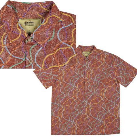 "Men's Bamboo Short Sleeve Shirt ""Dreaming Range"" PUYURRU DREAMING"