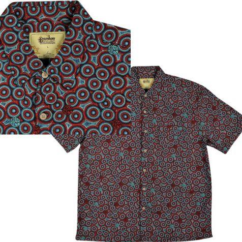"Men's Bamboo Short Sleeve Shirt ""Dreaming Range"" WANAKIJI JUKURRPA DREAMING"