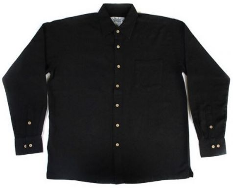 Mens Bamboo Fibre Long Sleeve Shirts: Black