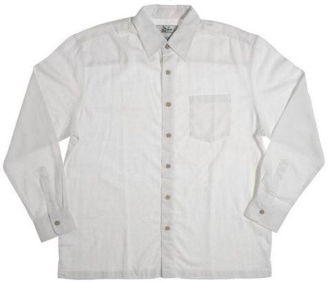 Mens Bamboo Fibre Long Sleeve Shirts: White