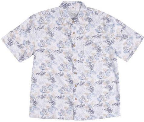 Mens Bamboo Fibre Short Sleeve Shirts: Blue Palm