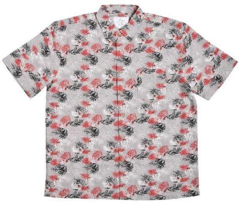 Mens Bamboo Fibre Short Sleeve Shirts: Red Palm