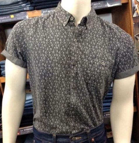 Men's Deacon Arctic Collared Short Sleeve Cotton Shirt GREY
