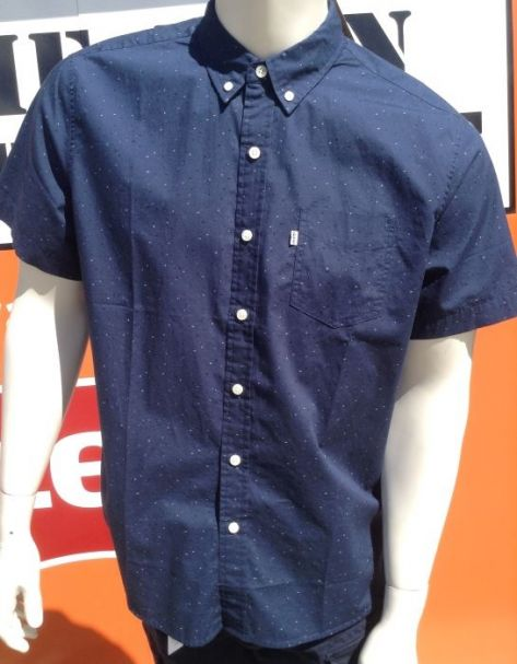Mens Levi's Classic Short Sleeve One Pocket Button Up Shirt in 'Dress Blue Print'