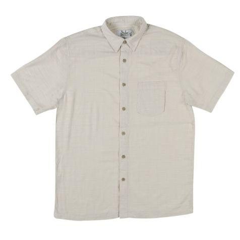 Mens Bamboo Fibre Short Sleeve Shirts: Bone
