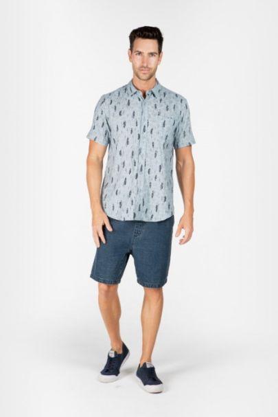 Braintree Men's Hemp/Cotton Short Sleeve Shirts Green Feather