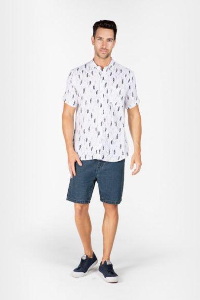 Braintree Men's Hemp/Cotton Short Sleeve Shirts White Feather