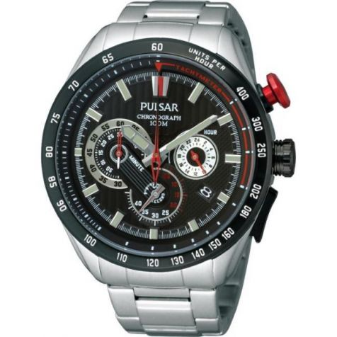 Pulsar Chronograph Watch PU2069X- Stainless Steel Bracelet- Black Face with Grey Indicators Some red Features