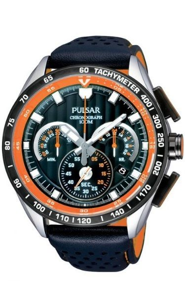 Pulsar Chronograph Watch PU2071X -Black and Orange Leather Band Black Face with Orange Features