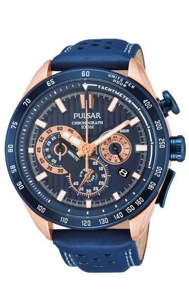 Pulsar Chronograph Watch PU2080X - Detailed Blue Leather Band - Blue face with Rose Gold Indicators