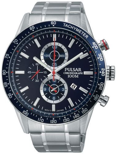 Pulsar Watch PF8439X Chronograph Gents 100m W/R Stainless Steel Silver Band with Blue and Silver Face