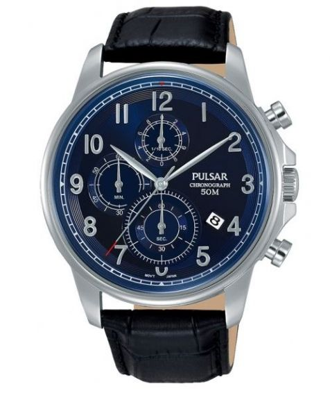 Pulsar Watch PM3073X - Chronograph - 50m W/R - Black Leather Strap - Blue Face