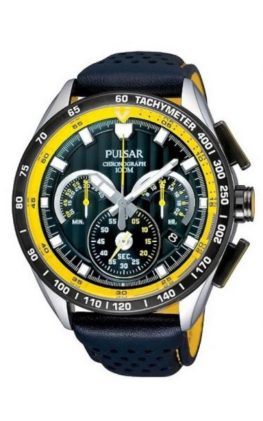 Pulsar Chronograph Watch PU2007X - Leather Band with Yellow features