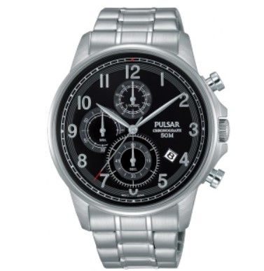 Pulsar Watch PM3067X - Chronograph - 50m W/R - Silver Strainless Steel Bracelet - Black Face