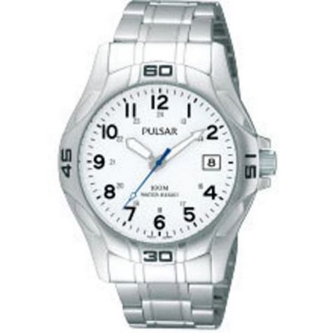 """Pulsar """"The Workman's Watch"""" White Face Stainless Steel Bracelet - PXHA49X"""