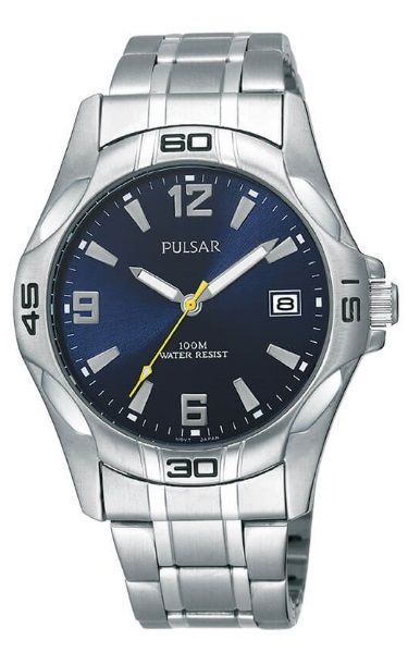 "Pulsar ""The Workman's Watch"" Dark Blue Face Stainless Steel Bracelet - PXH443X"