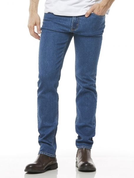 """Men's Riders by LEE stretch Slim Fit Blue STONEWASH jean with  34"""" Inleg"""